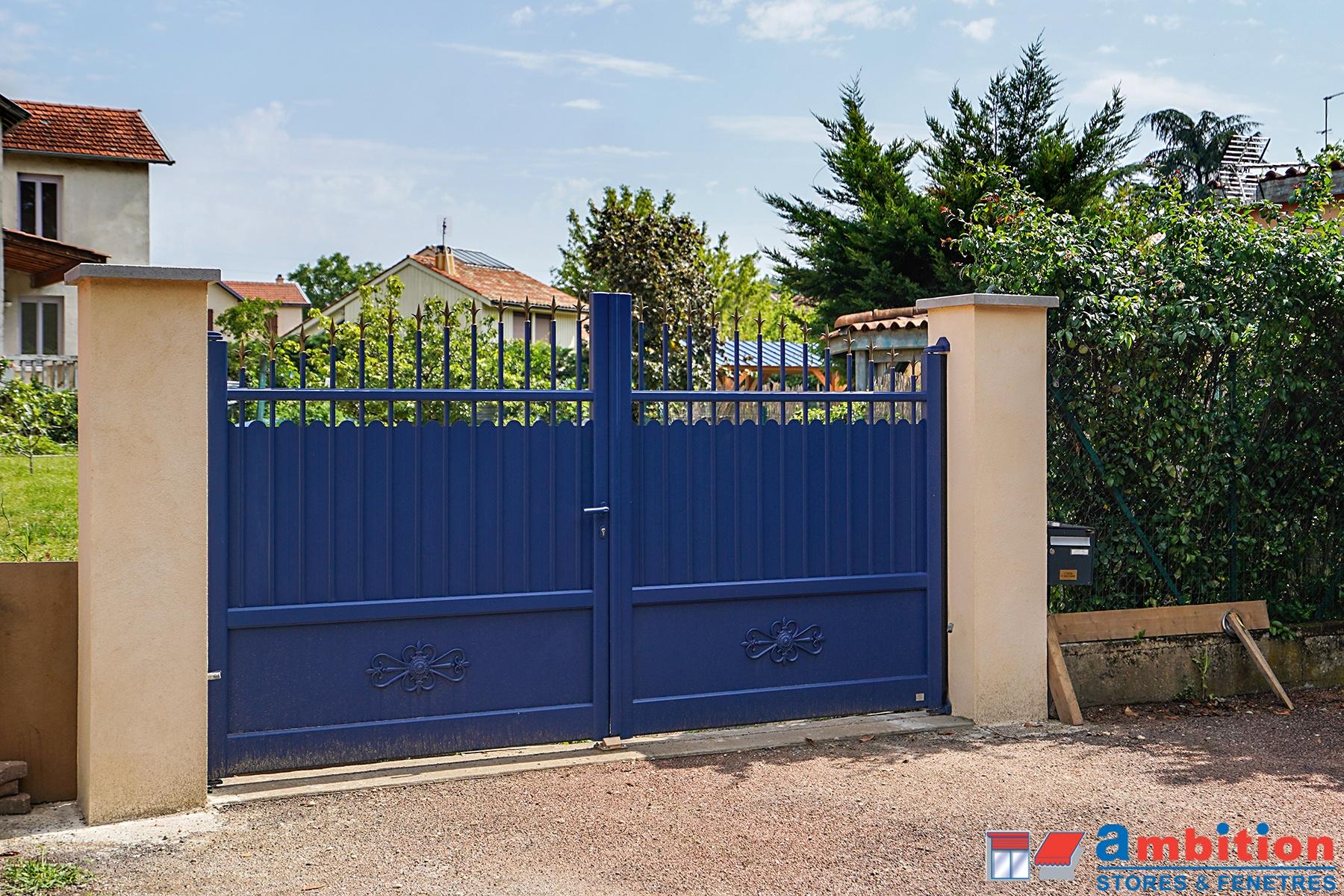 installation portail bleu à genas 69740